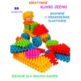 Edukacyjne KLOCKI JEŻYKI 20 EL blocks kolorowe