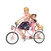 Zestaw laleczka z dzieckiem na rowerze duo wraz z akcesoriami kask plecak E0813 Emaj